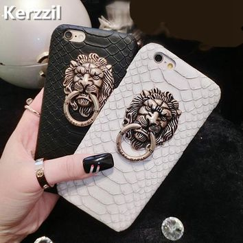 Kerzzil Snake Skin Lion head PU Leather Hard Case For iPhone 7 6 6S Plus Phone Stand Holder Cover Back For iPhone X 6 6S 8 Plus