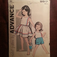 Complete 1960's Advance Sewing Patterns 9817! Full Skirt/Sleeveless Shirts Child