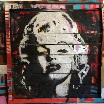 SPECIAL SALE Reclaimed Wood Art Wall Hanging Wall Decor Marilyn Monroe Art Large Wood Art Wood Wall Art Upcycled Wood Pallet Art