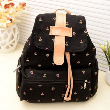 Women's Canvas Pastoral Floral Print Backpack