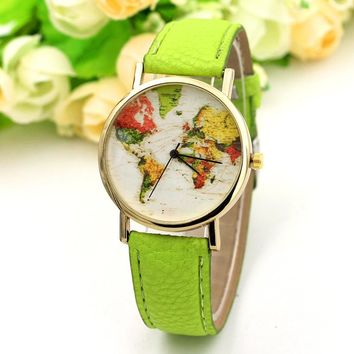 Spring Green Fashion Style Colorful World Map Printed Watch Women Casual Quartz Wrist Watches Girls' Vogue Accessories Bracelet
