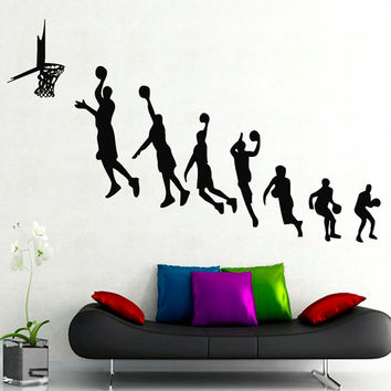 Sport Wall Decals Basketball Players Sportsman Boy Girl Gym Living Room Home Interior Design Vinyl Decal Sticker Baby Kids Room Decor kk798
