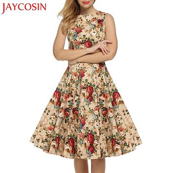 JAYCOSIN Vintage Dress Women 2018 Summer Party Print Audrey Hepburn 1950s Sleeveless Big Bottom Swing Dresses Y830 Free Shiping