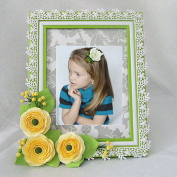 Photo frame with buttercups. Shabby Chic. Eco. Home Decor for Children Baby Kid. Girl. Beloved. ready to ship