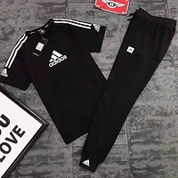 Adidas Fashionable Men Women Print Short Sleeve Top Pants Set Two-Piece Sportswear Black
