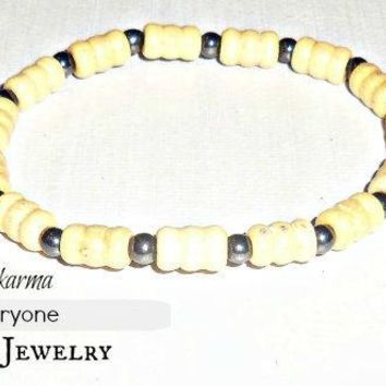 "For Everyone Bracelet/Anklet : Genuine Wood and Hematite ""Good Karma"""