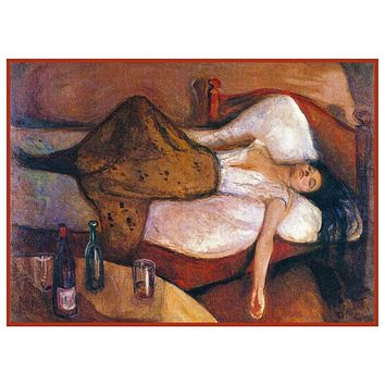 A Woman The Day After by Symbolist Artist Edvard Munch Counted Cross Stitch or Counted Needlepoint Pattern