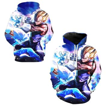 Vegeta Super Saiyan 2 Sweatshirts Autumn Outdoor Skateboarding Hoodies 3D Dragon Ball Z Men Hooded Hoody Running Tops Pullover