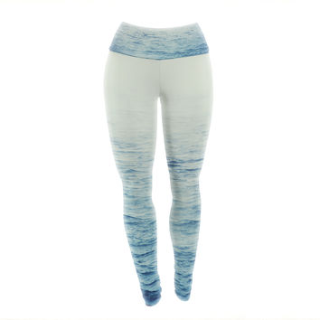 "Debbra Obertanec ""Foggy Morning Ocean"" Coastal Blue Yoga Leggings"