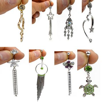 Showlove-1pc Different Steel& CZ gem Dangle Navel Belly Button Ring for Promotion Body Piercing Jewelry