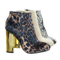 Scenery11 Leopard by Bamboo, Faux Fur Lined Metal Plated Chunky Block Heel, Women's Ankle Bootie
