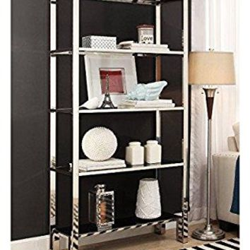 ModHaus Modern Mirror Finish Chrome Bookcase with 5 Black Tempered Glass Shelves - 36 wide x 73 height x 15 depth inches Indoor Includes ModHaus Living (TM) Pen