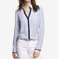 COLOR TIPPED CONVERTIBLE SLEEVE PORTOFINO SHIRT