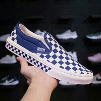 Vans Trending Slip-On Old Skool Stylish Checkerboard Canvas Sneakers Sport Shoes Blue I-A36H-MY
