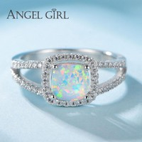 Angel Girl Solid Silver Ring With 0.83ct Opal Ladies Round Mood Ring Cute Birthday Gift For Female Silver-925-Jewelry R0057-WW