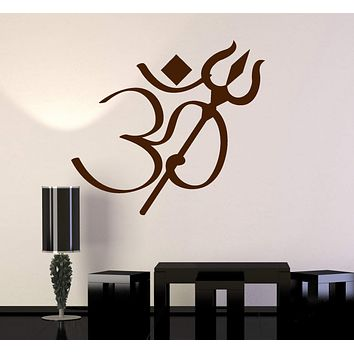 Vinyl Wall Decal Om Symbol Trishula Hinduism Hindu Stickers Unique Gift (ig4836)