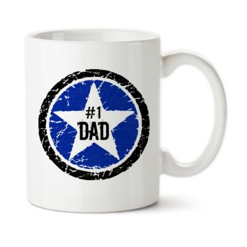Coffee Mug, Blue Black Rock Star #1 Dad, Number 1 Dad, Best Dad, Awesome Dad, Father's Day, Birthday Gift For Dad