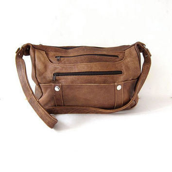 Vintage 80s brown purse. leather shoulder purse. slouchy bag. hobo crossbody bag.