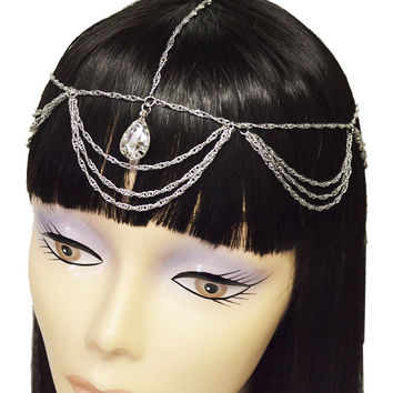 Goldtone or Silvertone - Fancy Cluster Looped Head Chain with Teardrop Clear Stones (Silvertone)