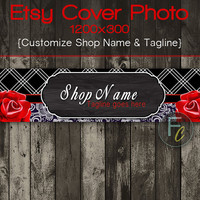 Etsy Shop Cover Photo 1200x300, Premade Red Rose Design, Black and Red Patterns, Customize Shop Name, Looks Great on Mobile Devices
