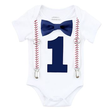 Baseball First Birthday Shirt Baby Boy Navy and Red