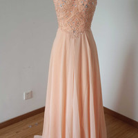 2015 Backless Spaghetti Straps Light Peach Chiffon Long Prom Dress