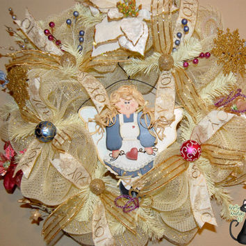 Christmas Hand Painted Angel Deco Mesh by KraftyKreations4You