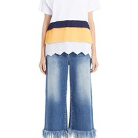 MSGM Colorblock Scalloped Hem Shirt | Nordstrom