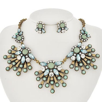 BlueMint Burst Necklace & Earrings