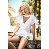 Drawstring On The Shoulder Seams And Scoop Neckline With Cutout White Top Dress