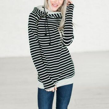 black stripes stitching hooded sweater