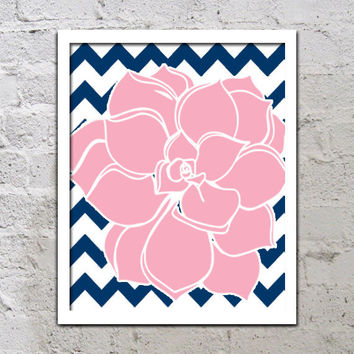 Bold Colorful Dahlia Flower Chevron Pink Navy Blue Decor Wall Art Poster Nursery Print Bedroom Bathroom