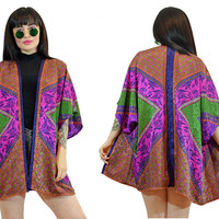 vintage 90s neon duster jacket ethnic print batik floral geometric pastel grunge festival hippie boho ultra draped satin shirt medium large