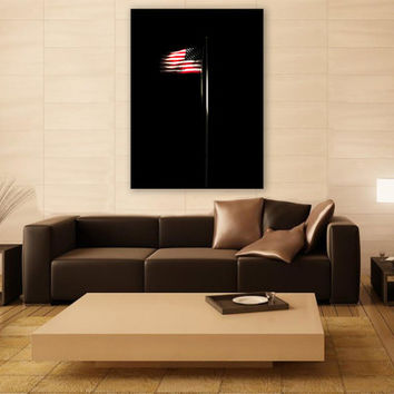 Minimalist Art American Flag Canvas Print 3 Panels Print Art Wall Deco Fine Art Photography Repro Print for Home and Office Wall Decoration