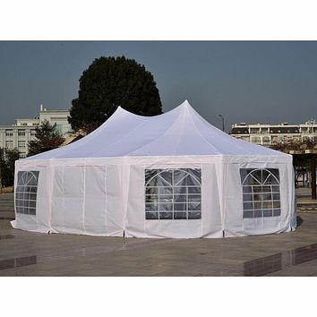 Outsunny 29'x21' Heavy Duty Decagonal Gazebo, Canopy, Wedding Party Tent, With Windows