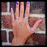 Feather & Silver Triple Connected Chain Ring