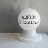 GENIUS IN TRAINING - Modern Lamp for Office or Home Decor - Nursery Light - Round White Globe - Desk Lamp - Accent Lamp - Night Light