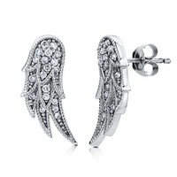 Sterling Silver 925 Cubic Zirconia CZ Angel Wings Stud Post Earrings #e792