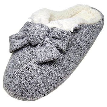 LA PLAGE Women's Winter Warm Plush Indoor Slippers with Bows size 8.5-9 US grey