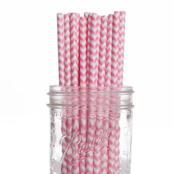 Dress My Cupcake 25-Pack Vintage Paper Straws, Bubblegum Pink Chevron