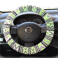 Steering-wheel-cover-wheel-car-accessories-Aztec-Neon-Green-Steering-Wheel-Cover