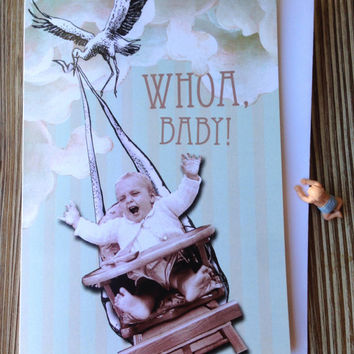 New baby card. Funny new baby. Congrats on Pregnancy. Whoa Baby!