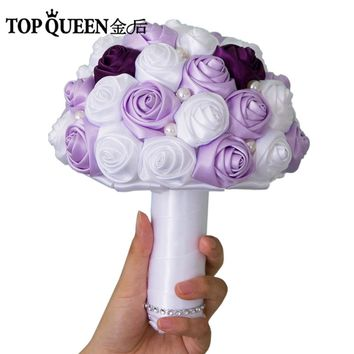 TOPQUEEN F7 Wedding Bouquet Purple and Lavender Rose White Rose Bridesmaid Flowers Pearl Bridal Bouquets