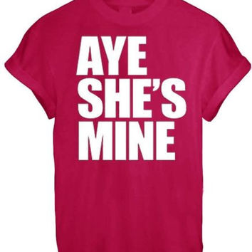 AYE HE#039;S SHE#039;S MINE MICKEY MOUSE HAND PRINTED t shirt Top Tee size XS S M L XL - RED