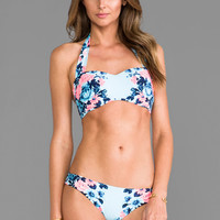 Seafolly Bella Rose Bandeau top in Vintage Blue