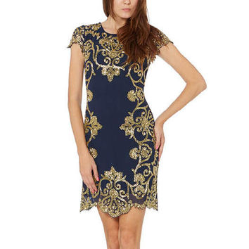 Georgette Shift Dress With Scallop Hem