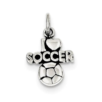 Sterling Silver Antique I  heart  Soccer Charm
