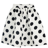White Polka Dot Midi Skater Skirt