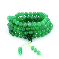 Buddhist 8mm Green Agate Prayer Beads Bracelet