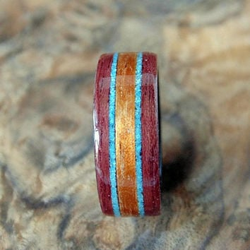Wood Ring - Purpleheart with Hawaiian Koa and Turquoise inlays Bentwood method
